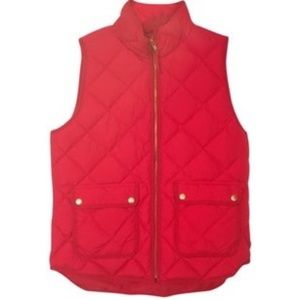 NWT J. Crew red quilted vest